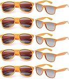 FSMILING all'Ingrosso Neon Colori Anni 80 retrò Vintage Occhiali da Sole Festa Adulti Bambini (10 Pezzi Arancione)