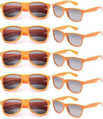 FSMILING Nerd Bunt Party Sonnenbrille Lustige Retro Neon Damen Herren Party Brille Set (10 Stück Orange)