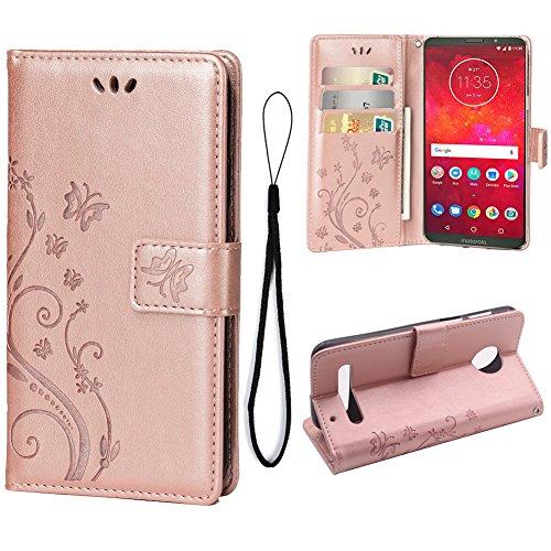 Teebo Hülle für Motorola Moto Z3 Play Schutzhülle aus PU Leder Handyhülle mit geprägtem Schmetterling-Muster Kartenfach & Magnetverschluss Rose Gold