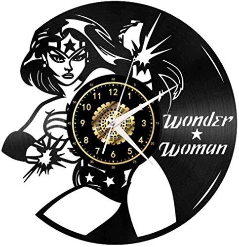 Reloj de Pared Mujer de Pelo Largo Lucha Reloj de Pared de Vinilo Creativo decoración de CD para el hogar Moderno decoración Retro para Sala Hechos a Mano 12 Pulgadas