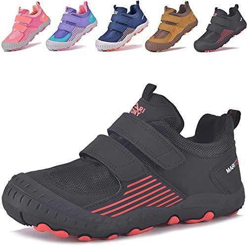 MARITONY Zapatillas infantiles de senderismo, para niños, niñas, zapatos trekking, transpirables, zapatillas correr, antideslizantes, deporte al aire libre., color Negro, talla 28 EU