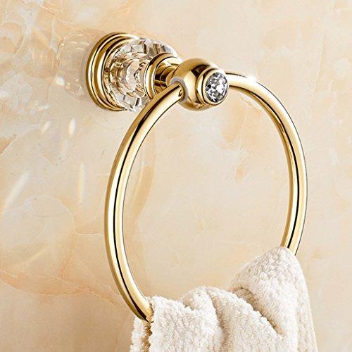 ZWL Jade Handtuchring Kupfer, Gold, Kristall Handtuchring Handtuch hängenden Ring im europäischen Stil Handtuch hängen Kreis, Badezimmerzubehör (Farbe : A)