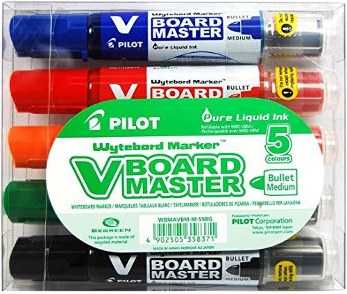 Pilot - Juego de 5 rotuladores para pizarra blanca V Board Master punta redonda Begreen