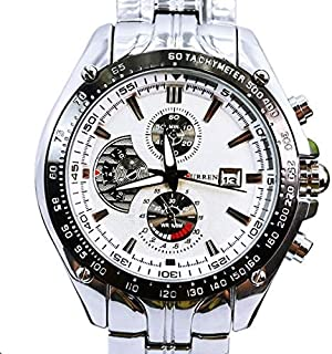 Silver White Quartz Movt Boys Mens Watch Stainless Steel Band Date Stylish Wrist Watch-CURREN