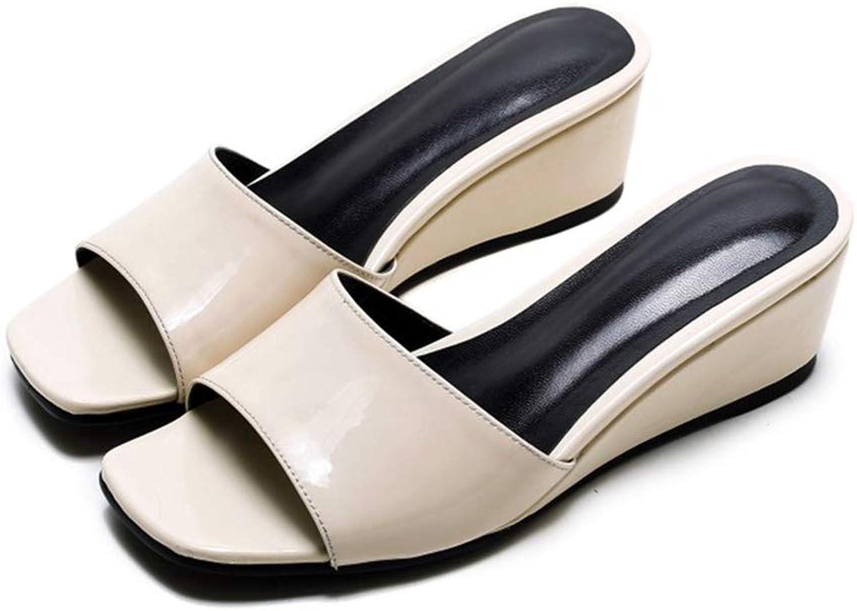 Kvinna sommar Med Häl Wedges Slippers Slippers Flip Flip Flip Flops Footwear med Genuine läder Square Toe  kolla in det billigaste