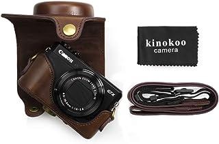 kinokoo Canon PowerShot G7 X Mark2/G7 X Mark3/G7 X MarkII/G7 X MarkⅢ/G7X2/G7X3専用カメラケース三脚穴付き ショルダーストラップ 標識クロス付き(コーヒー)