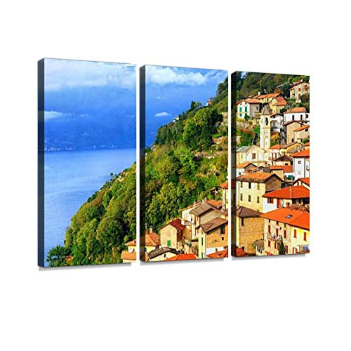 Lake Como, Milan, Italy Alpine rurals and Pictures Print On Canvas Wall Artwork Modern Photography Home Decor Unique Pattern Stretched and Framed 3 Piece