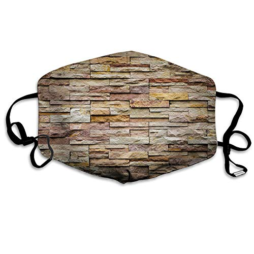 Fillter Face Cloth for Unisex Adult Seniors Urban Brick Slate Stone Wall with Rocks Featured Facade Reusable Windproof Mouth Anti Dust Double Protection
