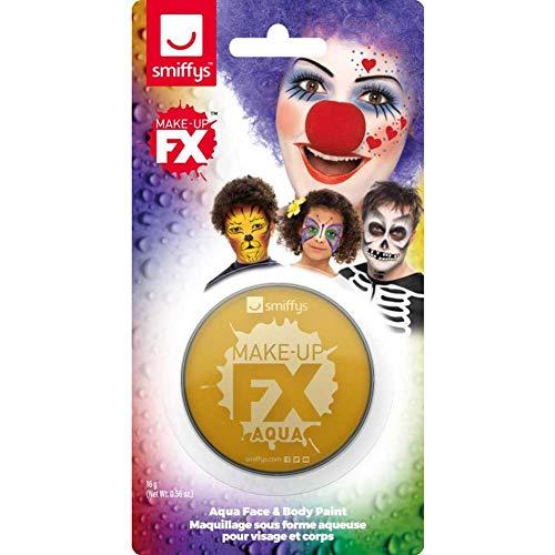 Smiffys Unisex Make-Up, Gesichtswasser und Körperfarbe, Wasserlöslich, 16ml, Metallic Gold, 47039