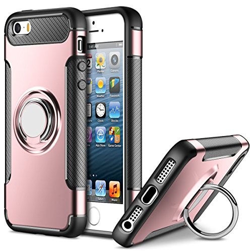 Funda para Apple iPhone 5 / iPhone 5S / iPhone SE (4 Pulgadas) Multifunción Anillo sostenedor movil de 360 Grados con función de Soporte Rugged Armor Cover Case (Oro Rosa)