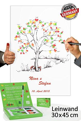 galleryy.net Wedding Tree Leinwand 45x30 mit Namen & Datum - INKL Zubehör-Set (Stempelkissen+Stift+Anleitung+Hochzeitsbuch+...) GRATIS - Wishingtree Gäste - Fingerabdruck Leinwand