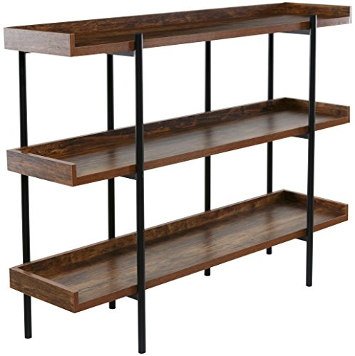Industrial Pipe Shelves with Wood 3-Tiers,Rustic Wall Mount Shelf 36.2in,Metal Hung Bracket Bookshelf,DIY Storage Shelving Floating Shelves