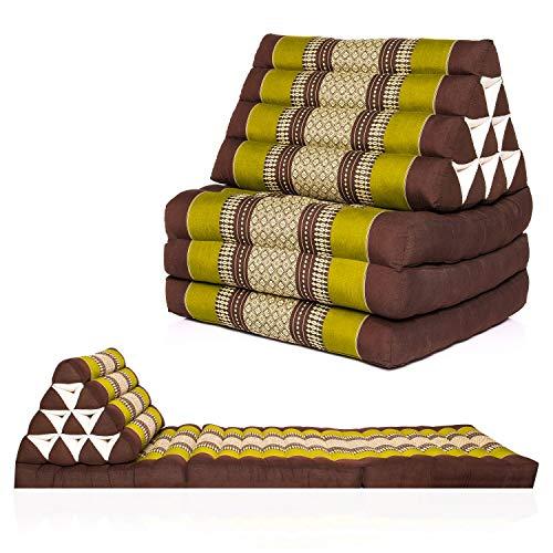Kitama Cojín triangular, cojín tailandés con 3 capas rellenas de kapok como colchoneta tailandesa, esterilla de yoga, esterilla de masaje tailandés, tamaño 170 x 50 cm (verde y marrón)