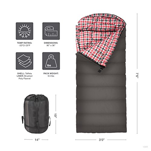 TETON Sports Celsius XL -32C/-25F Sleeping Bag; Sub 0 Degree Sleeping Bag Great for Cold Weather Camping; Grey, Right Zip