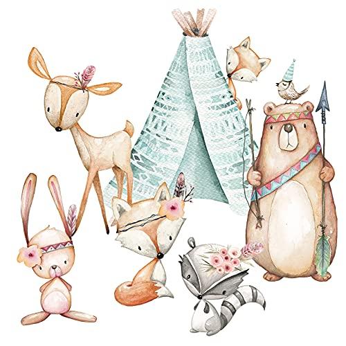 Little Deco Aufkleber Waldtiere & Bär mit Pfeil und Bogen I Wandbild I Zelt Wandsticker Kinder Wandtattoo Kinderzimmer Deko Babyzimmer DL490 (S - 52 x 36 cm (BxH))