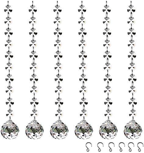 Prisma de Cristal Transparente, Speyang 6 pcs Colgante de Cristal Octágono, Clear Beads Candelabro Decoración Colgante, para Lámparas, Árboles de Navidad, Decoración del Banquete de Boda,