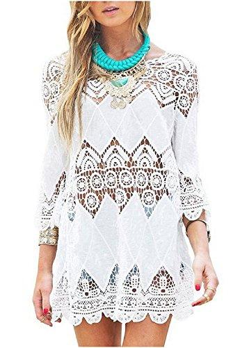 NFASHIONSO Women's Fashion Swimwear Crochet Tunic Cover Up / Beach Dress