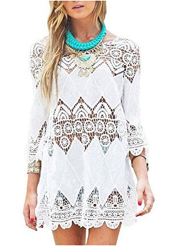 NFASHIONSO Women's Fashion Swimwear Crochet Tunic Cover Up / Beach Dress