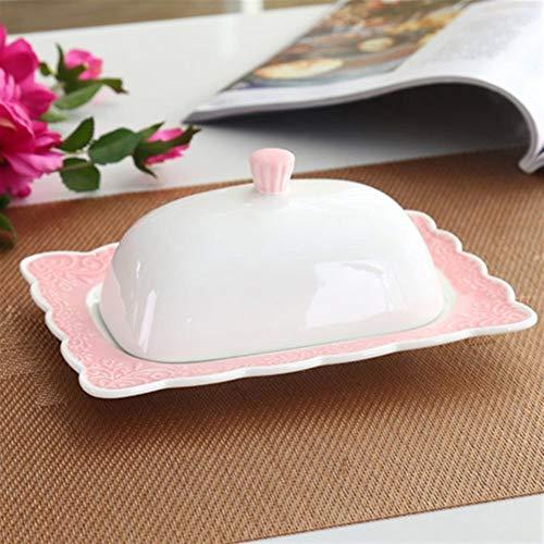 Mantequilla con tapas en relieve de cerámica blanca con tapa Cerámica Porcelana de cerámica para el hogar, restaurante de comida occidental estilo occidental (Color: C)