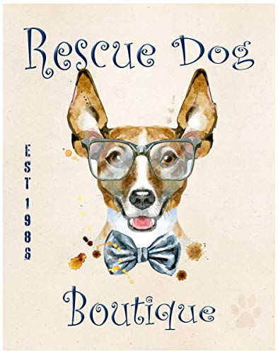Rat Terrier Rescue Dog Boutique Fine Art Print Decor - Humor Wall Art Poster - 11x14 Unframed Funny Wall Art Photo Gift - Office, Apartment, Dorm Accessories Under $15