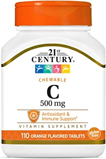 21st Century Vitamin C 500 mg Chewable Tablets, (21024) Orange 110 Count
