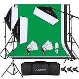 Anoder Kit de Fotografía, 3 Softbox 50x70cm, 9 Bombillas 135W, 3 Fondo de Fotografia Blanco Negro Verde, Sistema de Soporte de 2x3m para para Fotografía de Retratos y Videos