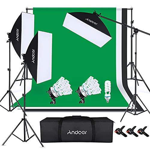 Andoer Studio Fotografico Kit di Illuminazione con 1.8x2.8M Sfondo Fotografico, Supporto per Sfondo 2x3 M, Softbox, lampadina, Supporti per luci, per Fotografia di Prodotti