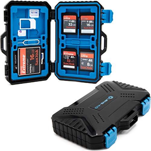 LENS-AID Speicherkarten Schutzbox für SD, CF, Micro-SD, TF, SIM-Karten - Box zur Aufbewahrung bis zu 28 Karten, Etui Spritz-wasserdicht und stoßfest
