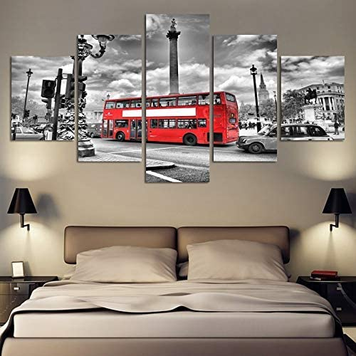 nuevo listado BAIF Lienzo de Pintura de 5 Piezas HD D D D Pintura Moderna sobre Lienzo 5 Panel Ciudad Paisaje Autobús rojo Imagen Modular Arte de la Parojo Decoración del Hogar Posters Marco Dormitorio  todos los bienes son especiales