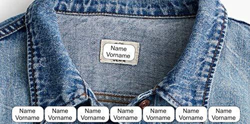 INDIGOS UG® Namen Aufkleber Textilien - 30x15mm 60 Stück für Wäscheetiketten - Schulkleidung Kleidung Kleidungsetiketten individueller Aufdruck personalisiert kein Aufbügeln Aufnähen Namensaufkleber