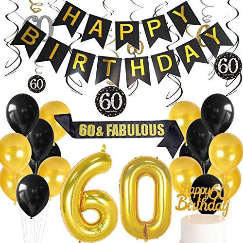 Meuparty Decorazioni per Il 60 ° Compleanno Nero e Oro per Uomo Donna Numero 60 Palloncini Pendenti con volantini Banner di Buon Compleanno 60 & Fusciacca favolosa
