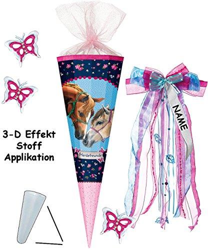 alles-meine.de GmbH mit 3-D Effekt - Schmetterlinge ! - Schultüte -  Pferdefreunde - Pferde  - 85 cm - 12 eckig - incl. individueller _ großer Schleife - mit Namen - Organza Ab..