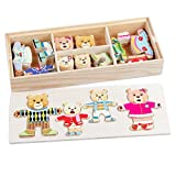 Queena 72 pcs Kids Wooden Jigsaw Puzzle Bear Family Change Clothes Games Play Set with Storage Case Early Educational Toys