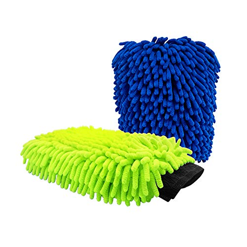 Car Wash Mitt 2Pack Extra Large Size Premium Chenille Microfiber Wash Glove Reusable Wash Mitt Super Soft Wet and Dry No Lint Scratch Green and Blue