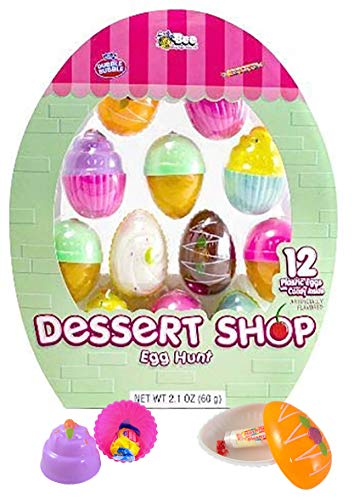 Dessert Shop Prefilled Easter Egg Hunt Kit with Smarties and Dubble Bubble Gum, Pack of 12