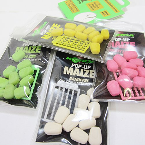 FTD Min 3 packs of KORDA POP UP MAIZE Carp Flavoured Fishing Bait Hair Stop Combo Available in 4 flavours Banoffee Citrus Zing IB Flavour Fruity Squid also comes with 10 FTD Barbless Hair Rigs 4 packs 1 of each flavour