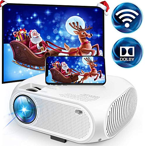 Wireless WiFi Video Projector 3600 Lumens, DIWUER Mini Movie Projectors, 1080P Supported, 176' Display, 55000 Hours Led, Compatible with Smartphones, HDMI, VGA, SD, AV, USB