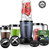 Personal Blender, Portable Blender for Smoothies and Shakes Baby Food Processor Combo Blender with 4 Cups for Nut Butter, Minced Meat, Frozen Drink, Stainless Steel Blades, Recipes Included 780W