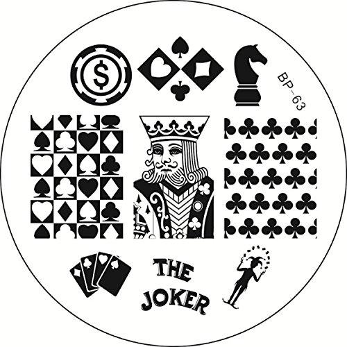 STAMPING-SCHABLONE # BP-63 Karten, Karo, Herz, Pik, Kreuz, Schach, Casino, König, Joker, Jeton