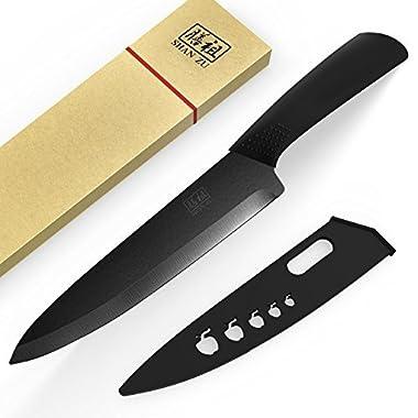 SHAN ZU Ceramic Knife 8'' Black Zirconium Blade Black Ergonomic Handle Matte Finish Chef Knife Healthy Kitchen Cutlery with Sheath Gift Box