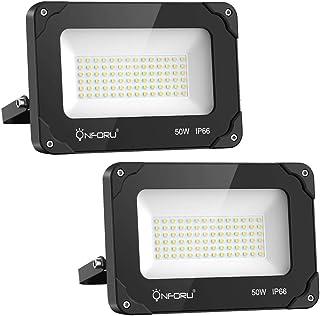 comprar comparacion Onforu 50W Foco LED Exterior (2 Pack), 5500LM Super Potente Proyector LED, Reflector LED IP66 Impermeable, Foco LED Interi...
