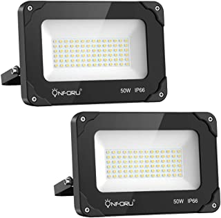 Onforu 2 Pack 50W LED Flood Light, 5500lm Super Bright Security Lights, 5000K Daylight White, IP66 Waterproof Outdoor Landscape Floodlight for Yard, Garden, Playground, Party