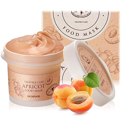 SKINFOOD Mask Apricot Trouble Care 120g - Facial Pore Clearing and Body Skin Soothing - Wash Off Face Masks w/Pink Calamine for Healthy, Clear & Smooth Skin - Shower-Proof Texture (4.23 oz)