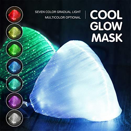 MXXQQ LED Carnival Glow Mundschutz, 7 Farben Luminous Flashingusb Wiederaufladbare Einstellbare Mundschutz, für Musik-Party Weihnachten Halloween,Schwarz