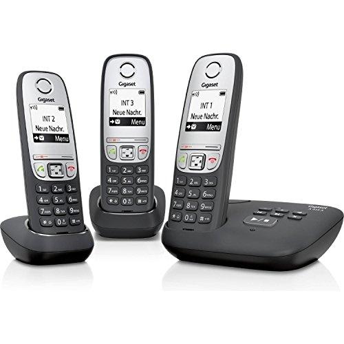 Gigaset A415A Trio - Teléfono inalámbrico (DECT, 50 m, 300 m, 100 entradas) Negro