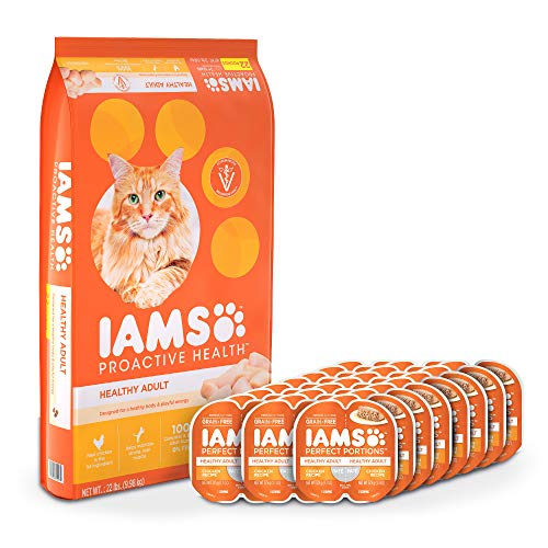 Iams Proactive Health Healthy Adult Dry Cat Food and Grain Free Paté Wet Cat Food, Chicken Recipes