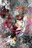 Chica abstracta impresión mural en lienzo arte mural graffiti impresiones artísticas moderno arte pop sala de estar dormitorio sin marco mural decorativo A59 60x90cm