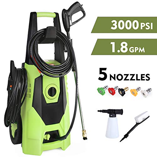 GARTIO Pressure Washer, 3000PSI 1800W 1.8GPM Portable Electric High Power Cleaner Machine, with Spray Gun and 5 Interchangeable Nozzles, Soap Pot and Brush, Suit for Garden Household, Farm and Vehicl