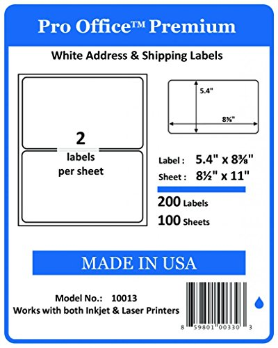 "Pro Office Premium 200 Round Corner Blank Half Page Self Adhesive Shipping Labels for Laser Printers & Ink Jet Printers Made In USA White 5 3/8"" X 8 3/8"" 200 Pack"