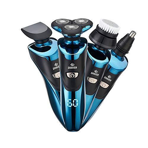 Afeitadora Electrica Hombre, Máquina de Afeitar Eléctrica IPX7 Impermeable Húmedo & Seco USB Quick Recargable Cortadoras de vello facial (azul)